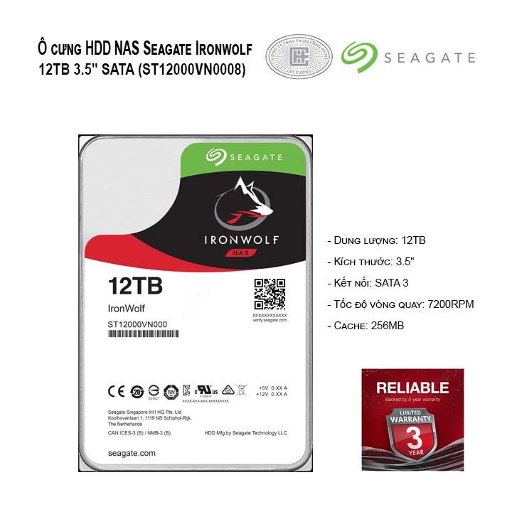 Ổ cứng NAS Seagate Ironwolf 12TB 3.5