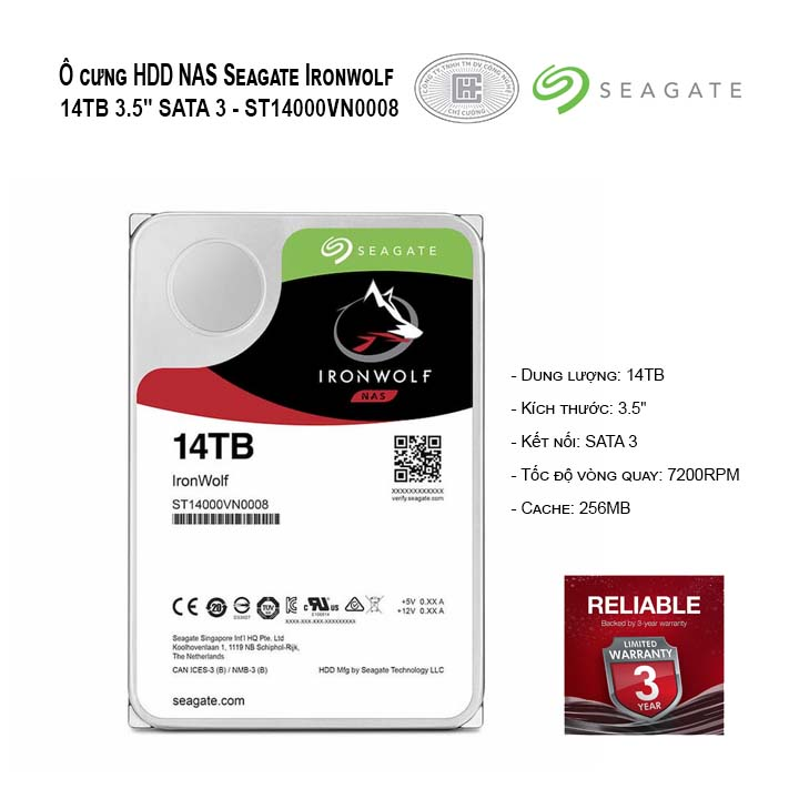 Ổ cứng HDD NAS Seagate Ironwolf 14TB 3.5