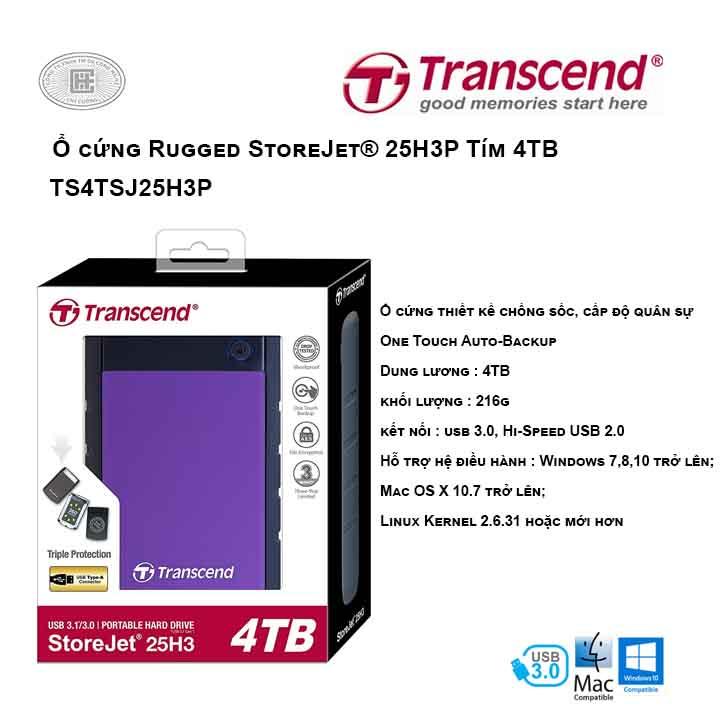 Ổ cứng Transcend Rugged StoreJet® 25H3P 4TB Tím USB 3.0 TS4TSJ25H3P