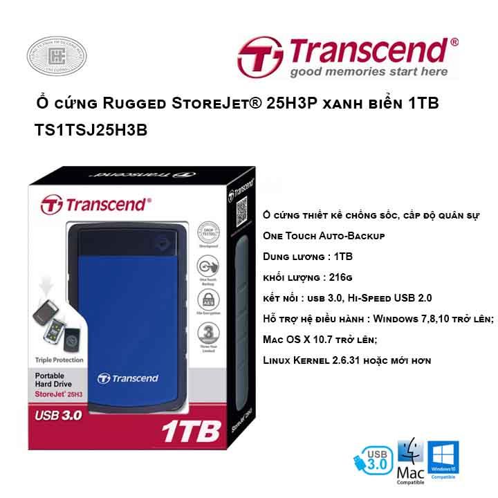 Ổ cứng Transcend Rugged StoreJet® 25H3B 1TB Xanh biển TS1TSJ25H3B