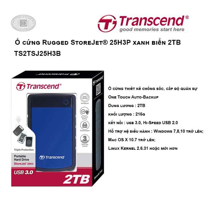 Ổ cứng Transcend Rugged StoreJet® 25H3B 2TB Xanh biển TS2TSJ25H3B