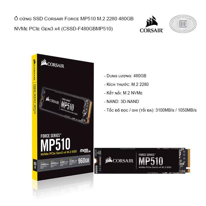 Ổ cứng SSD Corsair Force MP510 M.2 2280 960GB NVMe PCIe Gen3 x4 (CSSD-F960GBMP510)
