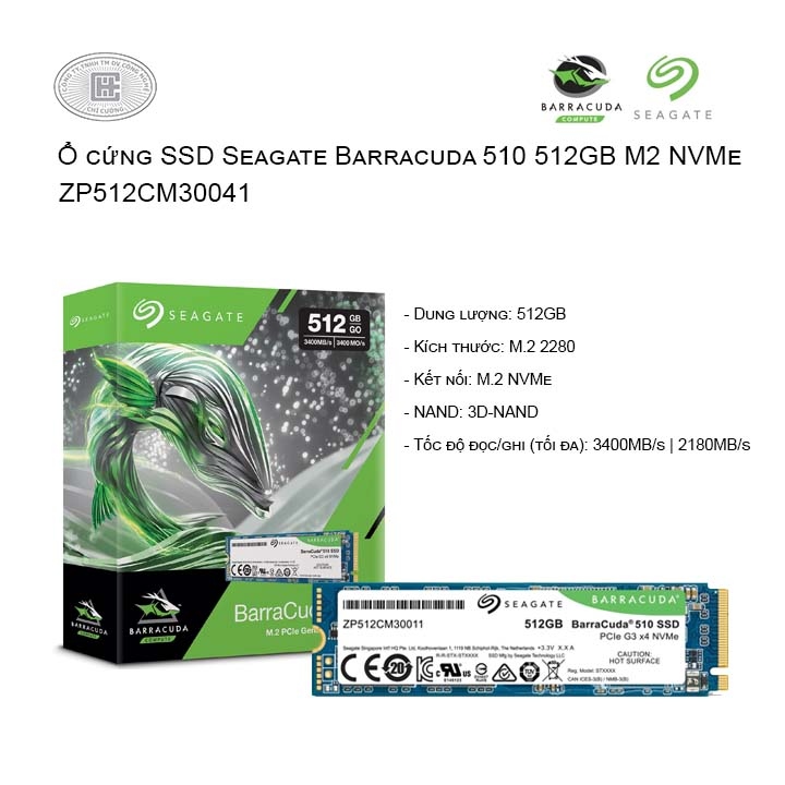 Ổ cứng SSD Seagate Barracuda 510 512GB M2 NVMe (ZP512CM30041)