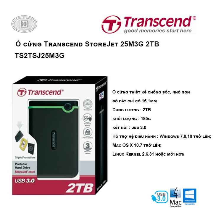 Ổ cứng Transcend StoreJet 25M3G 2TB TS2TSJ25M3G