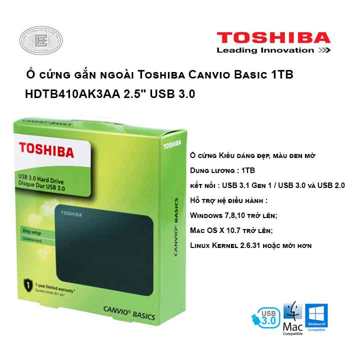 Ổ cứng di động Toshiba Canvio Basic 1TB 2.5