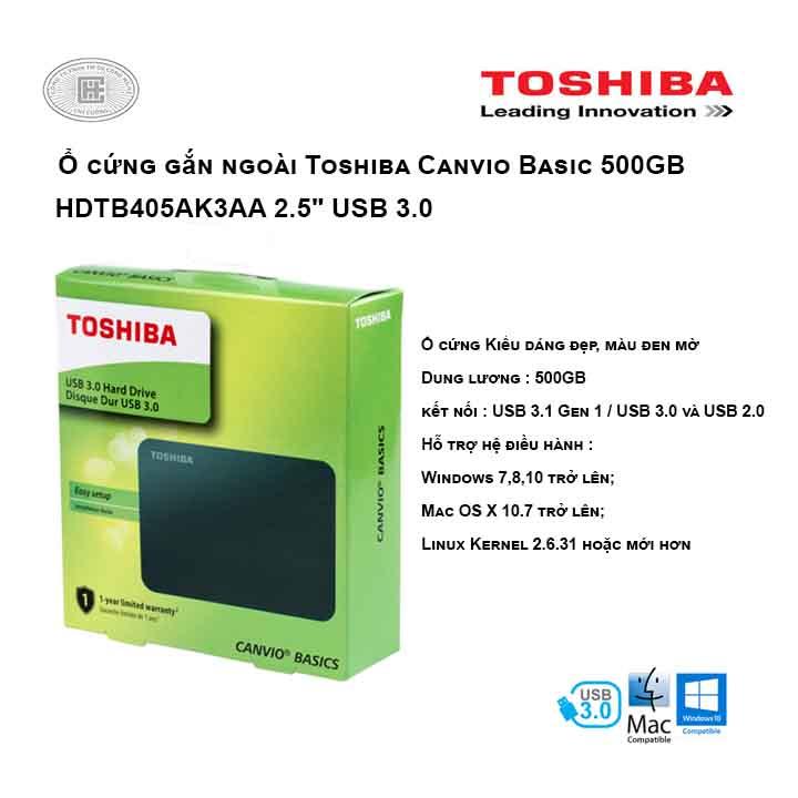 Ổ cứng di động Toshiba Canvio Basic 500GB 2.5