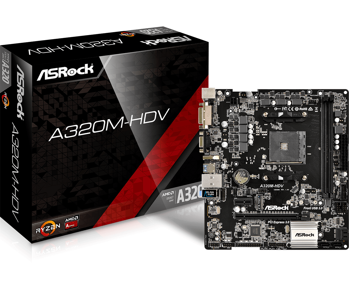 Main AsRock A320M-HDV socket  AM4
