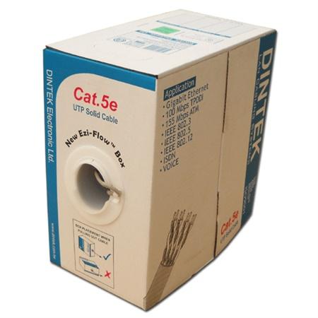 DINTEK - CAT.5e S-FTP, 4 pair, 24AWG, Bọc nhôm chống nhiễu 4 đôi, bọc thêm lưới đồng ở ngoài, cuộn 305m trên rulo nhựa.- 1105-03001CH