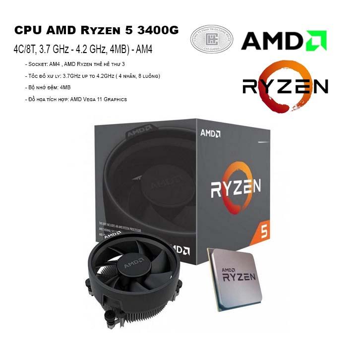 CPU AMD Ryzen 5 3400G (4C/8T, 3.7 GHz - 4.2 GHz, 4MB) - AM4