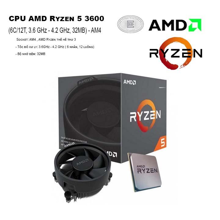 CPU AMD Ryzen 5 3600 (6C/12T, 3.6 GHz - 4.2 GHz, 32MB) - AM4