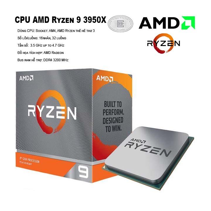 CPU AMD Ryzen 9 3950X (16C/32T, 3.5 GHz up to 4.7 GHz, 64MB) - AM4