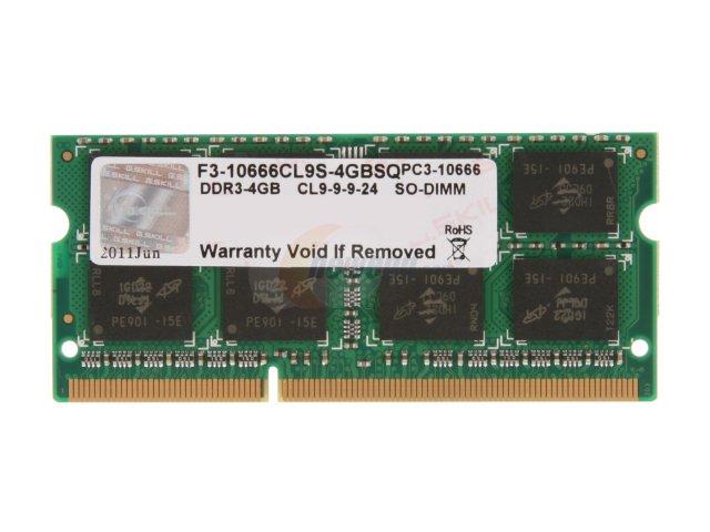 RAM GSKILL dành cho Laptop F3-10666CL9S-4GBSQ 4GB/1333