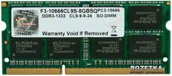 RAM Laptop GSKILL 8GB Bus 1333 - F3-10666CL9S-8GBSQ