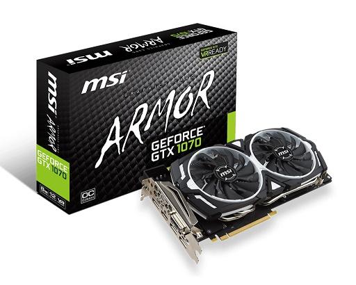 VGA MSI - GTX 1070 ARMOR 8G OC - NVIDIA® GeForce® GTX 1070 , PCI Express x16 3.0