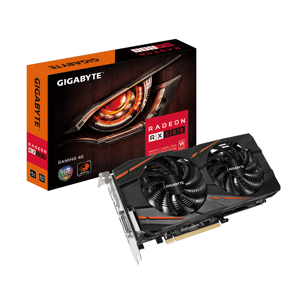 VGA GIGABYTE GV-RX580GAMING-4GD - 4GB CHIPSET ATI