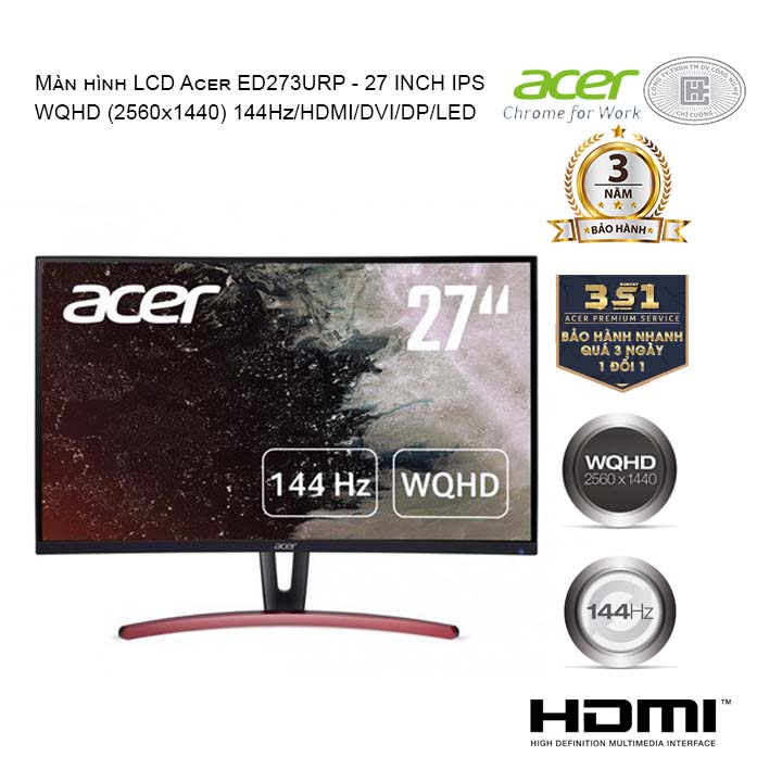Màn hình LCD Acer ED273URP (UM.HE3SS.P01)  27 INCHES WQHD (2560x1440) 144Hz/HDMI/DVI/DP/LED