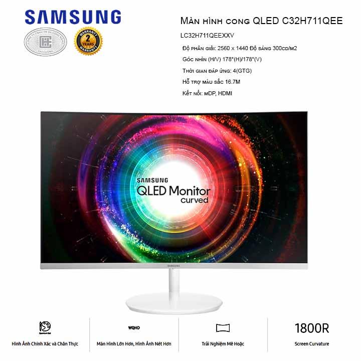 Màn hình máy tính Samsung LC32H711QEEXXV cong 31.5 inch