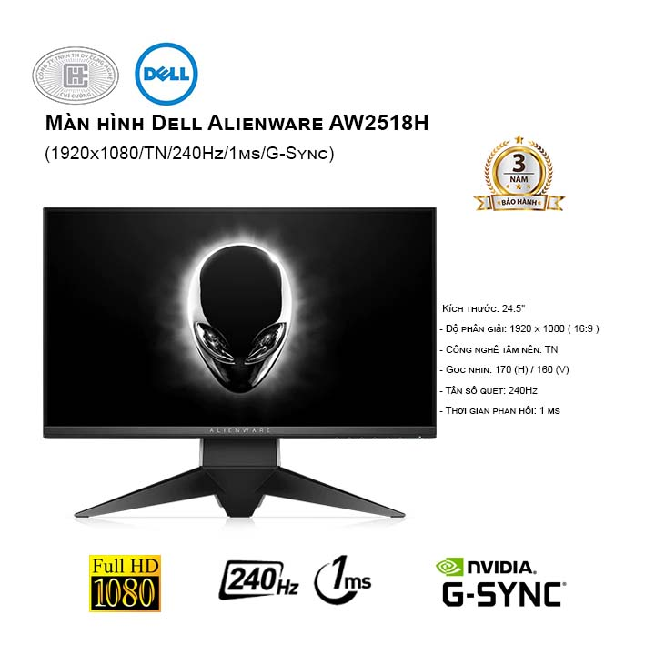 Màn hình Dell The Alienware AW2518H 25 Inch - 240hz  (giảm giá 2 ngày)