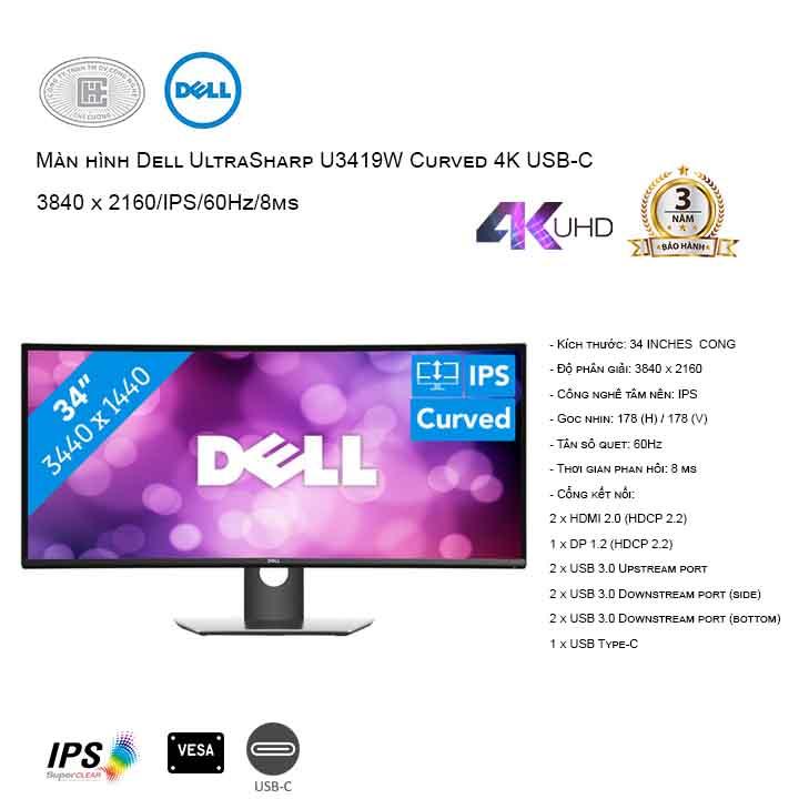 Màn hình Dell UltraSharp U3419W  cong USB-C