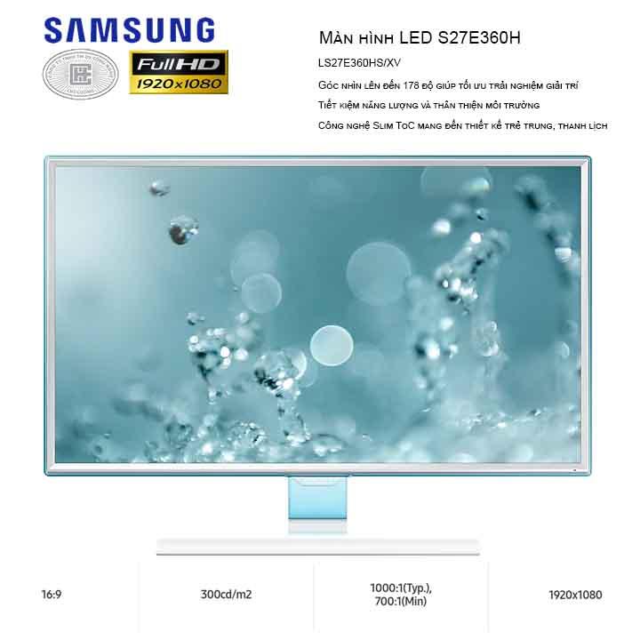 Màn hình SAMSUNG 27 inches LS27E360FS/XV (1920 x 1080/PLS/60Hz/4 ms)