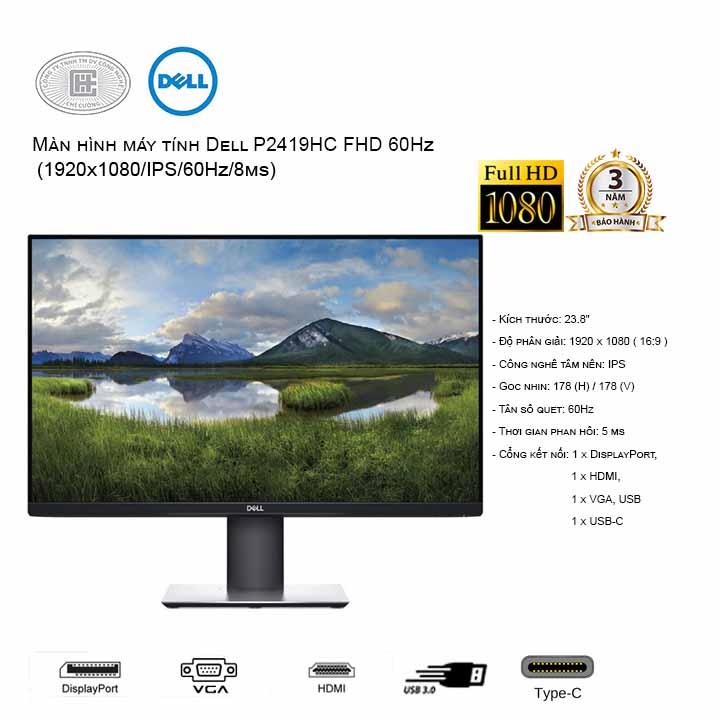 Màn hình máy tính Dell P2419HC  24 inch Full HD (USB Type-C)