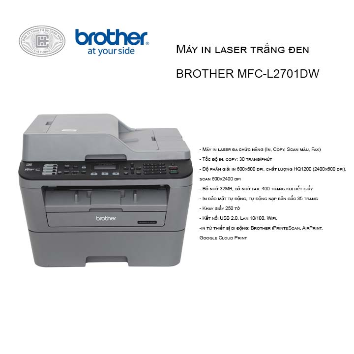 Máy in đa chức năng Laser Brother MFC-L2701DW (in, scan, coppy, fax, in 2 mặt + wifi)
