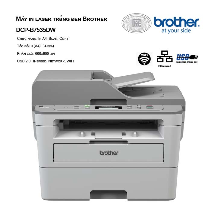 Máy in laser trắng đen Borther DCP-B7535DW ( In, Scan, Copy )