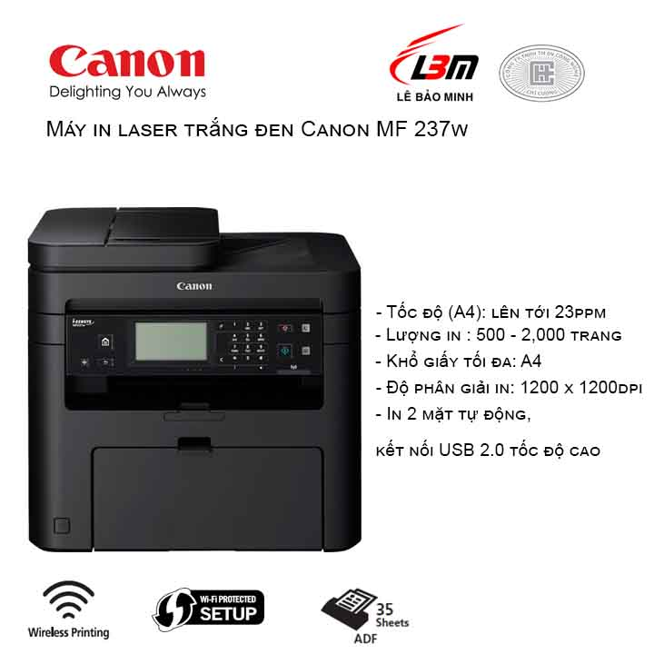 Máy in laser trắng đen Canon MF 237w Print - Scan - Copy - Fax - Wifi