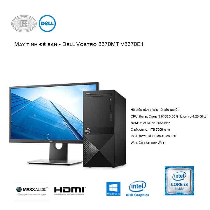 Máy tính để bàn - PC Dell Vostro V3670E1 MT (i3-9100/4GB/1TB HDD/UHD 630/Win10)