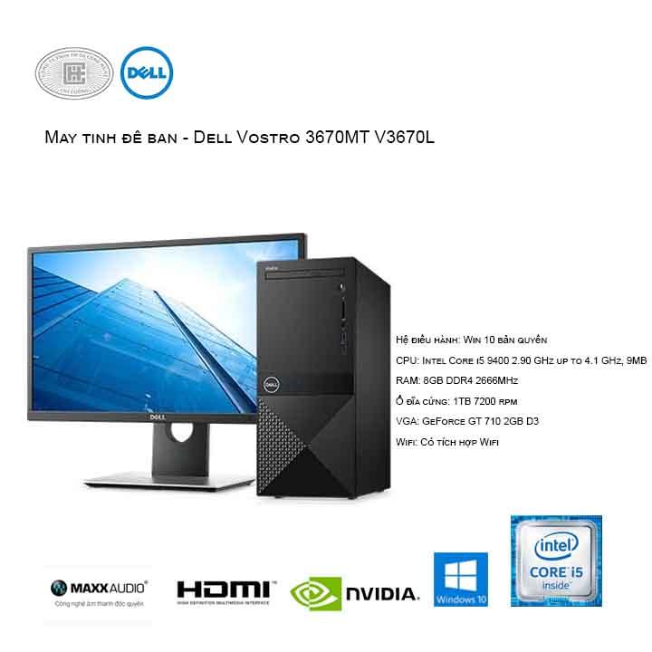 Máy tính để bàn - PC Dell Vostro V3670L MT (i5-9400/8GB/1TB HDD/GeForce GT 710 2GB/Win10)