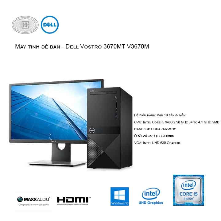 Máy tính để bàn - PC Dell Vostro V3670M MT (i5-9400/8GB/1TB HDD/UHD 630/Win10)