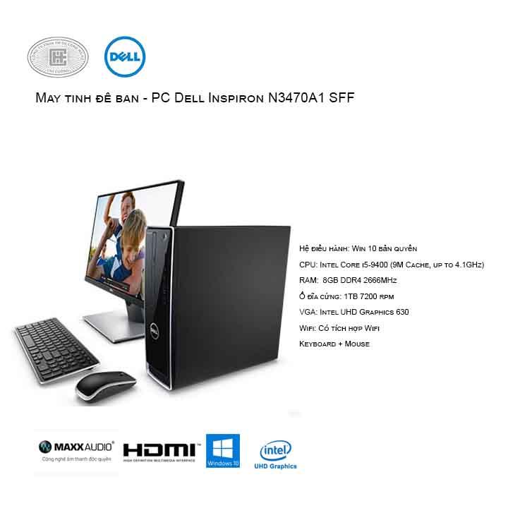 Máy tính để bàn - PC Dell Vostro N3470A1 SFF (i5-9400/8GB/1TB HDD/Intel UHD 630/Win10)