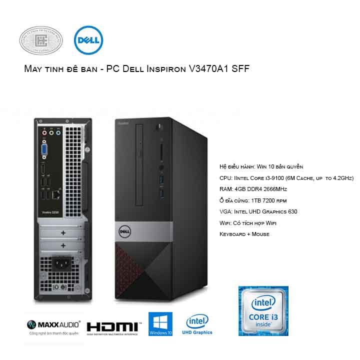 Máy tính để bàn - PC Dell Vostro V3470A1 SFF (i3-9100/4GB/1TB HDD/UHD 630/Win10)
