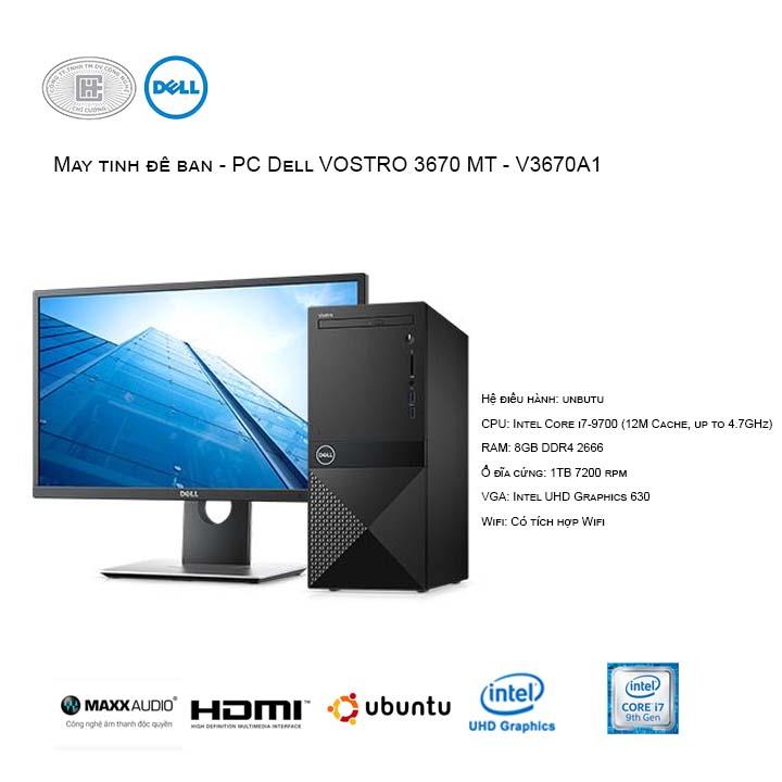 Máy tính để bàn - PC Dell Vostro V3670A1 MT (i7-9700/8GB/1TB HDD/UHD 630/Ubuntu)