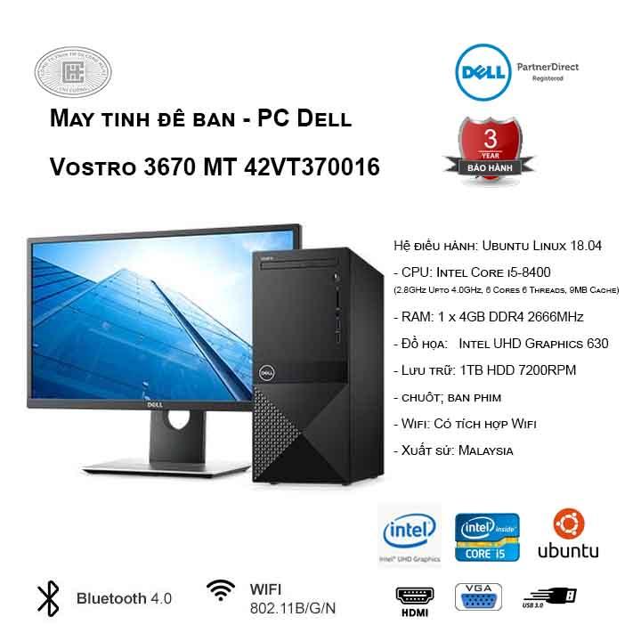 Máy tính để bàn - PC Dell Vostro 3670 MT 42VT370016 (i5-8400/4GB/1TB HDD/UHD 630/Ubuntu)