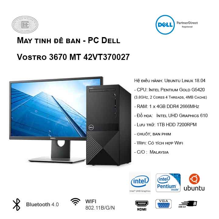 Máy tính để bàn - PC Dell Vostro 3670 MT 42VT370027 (G5420/4GB/1TB HDD/UHD 610/Ubuntu)