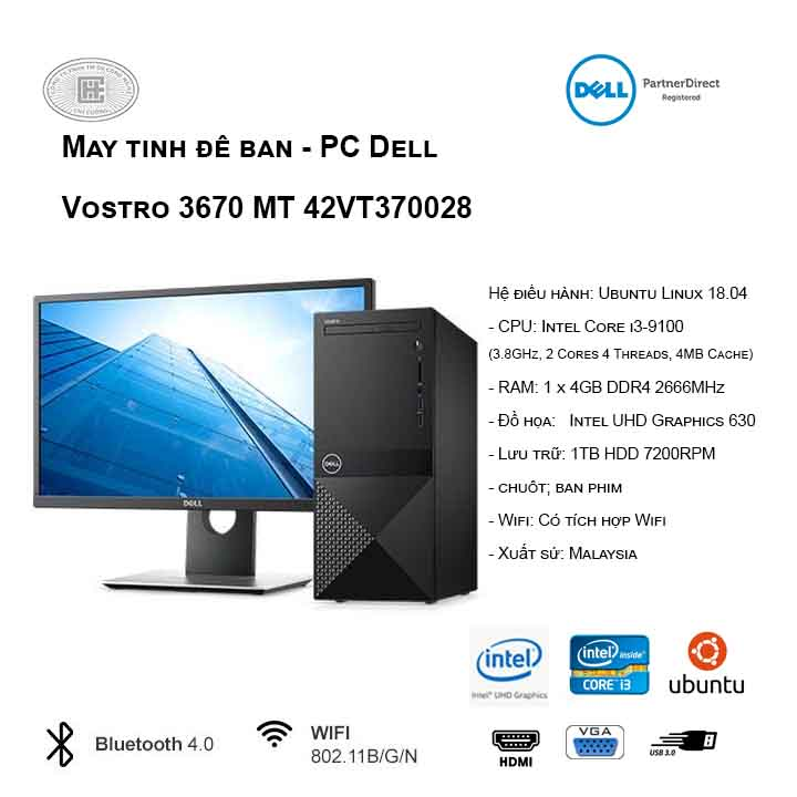 Máy tính để bàn - PC Dell Vostro 3670 MT 42VT370028 (i3-9100/4GB/1TB HDD/UHD 630/Linux)