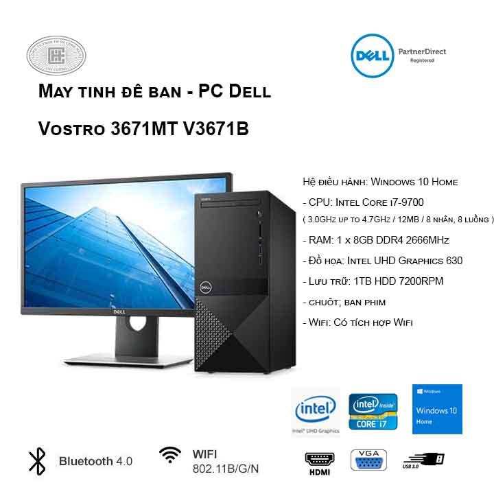 Máy tính để bàn - PC Dell Vostro 3670 MT V3671B (i7-9700/8GB/1TB HDD/UHD 630/WIN10)