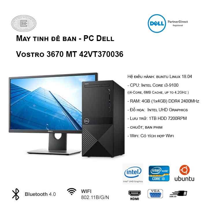 Máy tính để bàn - PC Dell Vostro 3671 MT 42VT370036 (i3-9100/4GB/1TB HDD/UHD 630/Ubuntu)