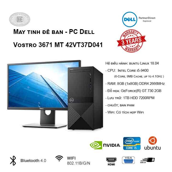 Máy tính để bàn - PC Dell Vostro 3671 MT 42VT37D041 (i5-9400/8GB/1TB HDD/GT730/Ubuntu)