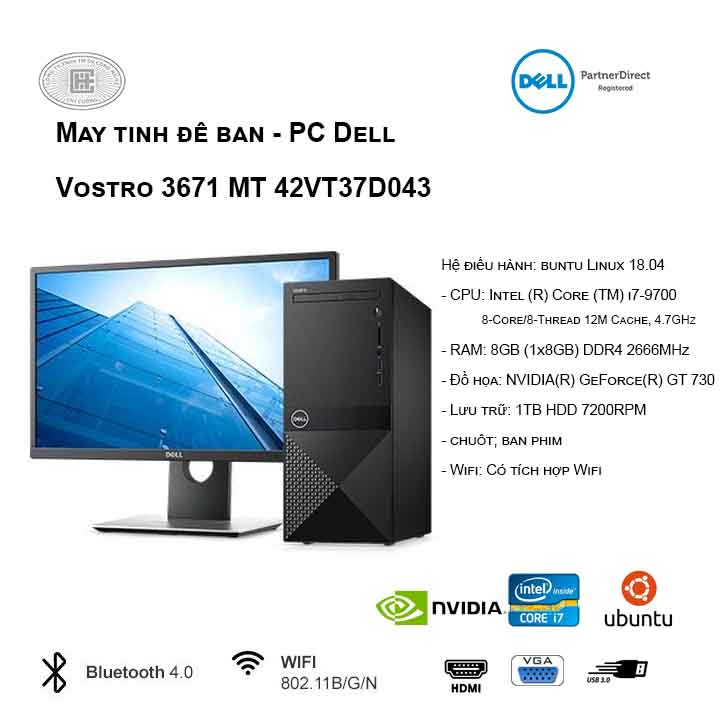 Máy tính để bàn - PC Dell Vostro 3671 MT 42VT37D043 (i7-9700/8GB/1TB HDD/GT 730/Ubuntu)