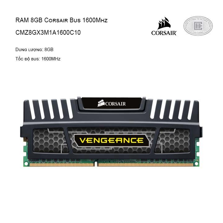 RAM CORSAIR (1 X 8GB) 8GB BUS 1600 C10 VENGEANCE - CMZ8GX3M1A1600C10