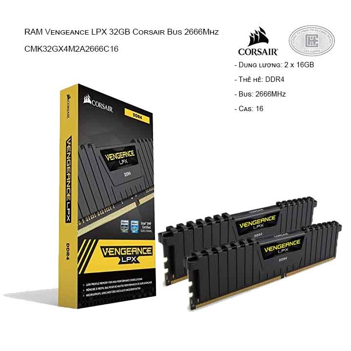 RAM desktop CORSAIR Vengeance LPX CMK32GX4M2A2666C16 (2x16GB) DDR4 2666MHz