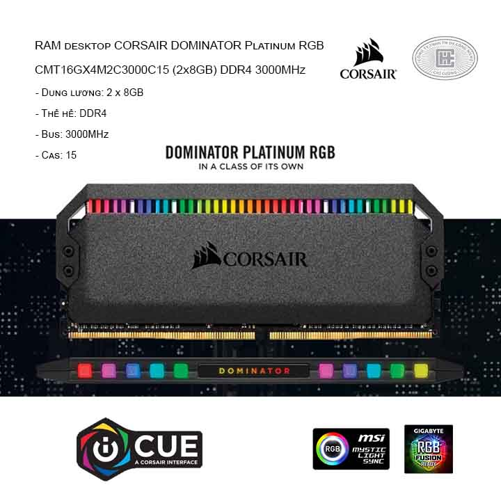 RAM desktop CORSAIR DOMINATOR Platinum RGB CMT16GX4M2C3000C15 (2x8GB) DDR4 3000MHz