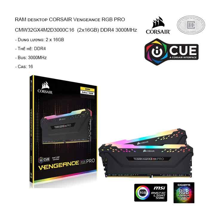 RAM desktop CORSAIR Vengeance RGB Pro CMW32GX4M2D3000C16 (2x16GB) DDR4 3000MHz