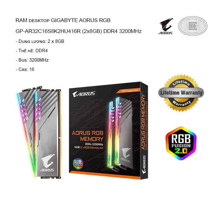 RAM desktop GIGABYTE AORUS RGB GP-AR32C16S8K2HU416R (2x8GB) DDR4 3200MHz