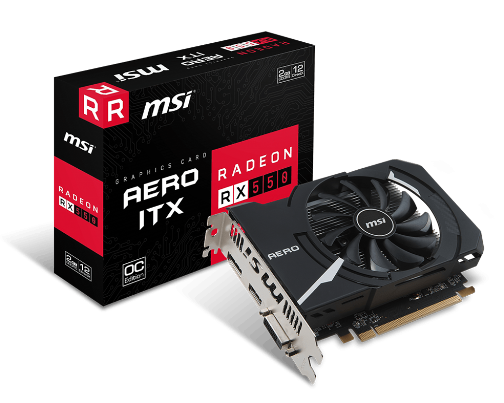 VGA MSI - RX 550 AERO ITX 2G OC - CHIP AT Radeon™ RX 550 , PCI Express x16 3.0