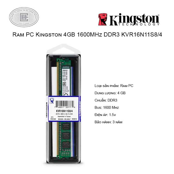Ram PC Kingston 4GB 1600MHz DDR3 KVR16N11S8/4