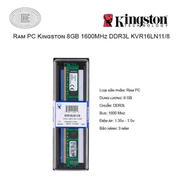 Ram PC Kingston 8GB 1600MHz DDR3L KVR16LN11/8