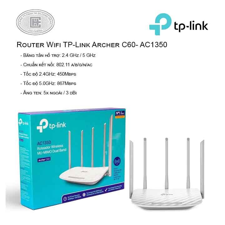 Router Wi-Fi Băng tần kép AC1350 - Archer C60